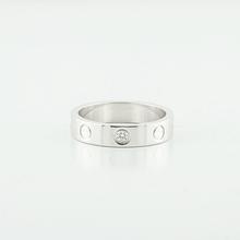 Cartier Love Mini 1 Diamond 18k White Gold 4mm Ring Band Size 49 U.S Size 4.75