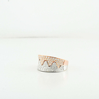 "Custom Made 18K Ladies White & Rose Gold ""Waves"" Diamond Modern Jewelry Ring"