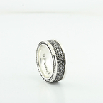 David Yurman Men's Black Diamond Streamline Three-Row 9mm Band Ring  Size 9.5