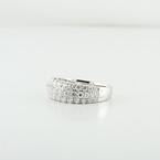 Ladies 18K Three Row Designer 0.82 CT Round Natural Diamond Fashion Jewelry Ring