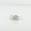 Ladies 18K Three Row Designer 0.82 CT Round Natural Diamond Fashion Jewelry Ring