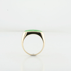 100% Natural Good Luck Green Jade 14K Yellow Gold Jewelry Saddle Ring Size 8.5
