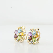Floral Arrangement Earrings In 14K Yellow Gold With Diamonds & Color Stones