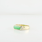 Very Green Natural Jade Cabachon & Diamond In Fine 18K Yellow Gold Ladies Ring