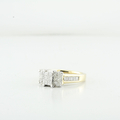 1.22 CTW Diamond Three Stone Princes Composite Engagement In 14K Yellow Gold