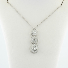 "Authentic Tiffany & Co Platinum Circlet Diamond Triple Drop Pendant 16"" Necklace"
