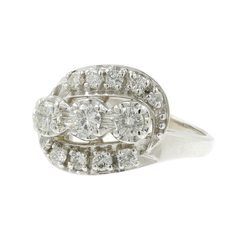 Ladies Vintage Classic Estate 14K White Gold Three-Stone Diamond Ring - 0.70CTW