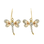 Classic Estate Ladies 14K Yellow/White/Rose Gold Dragonfly Fish Hook Earrings