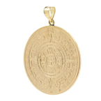 Rare Vintage Estate 14K Yellow Gold Aztec Calendar 40MM Pendant