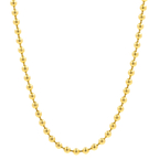 Stylish Modern 18K Yellow Gold Fancy Bead 17 Inch Fold Over Clasp Necklace Chain