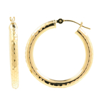 Classic 14K Yellow Gold 38MM High Polished Hollow Hoop Saddle Back Earrings