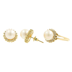 Classic Estate Ladies 14K Yellow Gold Cultured Pearl Diamond Halo Ring Earrings Set