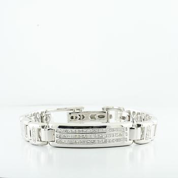 Brilliant 3.90CTW Multi Shaped Diamond 14K White Gold Mens Custom Link Bracelet
