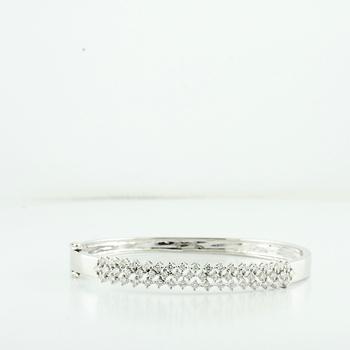 Brilliant 18K Fine White Gold Ladies 1.56CTW Diamond Three Row Bangle Bracelet