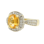 Classic Estate Ladies 14K Yellow Gold Citrine Diamond 1.10CTW Cocktail Ring