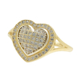 Charming Ladies Estate 10K Yellow Gold Zirconia Heart-Shaped Promise Ring