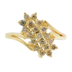 Classic Estate Ladies 14K Yellow Gold Diamond Cluster Cocktail Ring - 0.50CTW