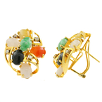 Vintage Estate Ladies 14K Yellow Gold Jade Onyx Cabochon French Back Earrings