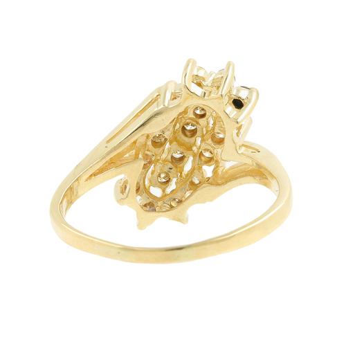 Ladies Classic Estate 14K Yellow Gold Diamond Cluster Cocktail Ring - 0.50CTW