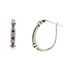 Classic Ladies 925 Silver 14K Yellow Gold Blue Spinel & Topaz Huggie Earrings