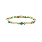 Ladies Classic Estate 14K Yellow Gold Emerald Diamond Tennis Bracelet - 2.58CTW