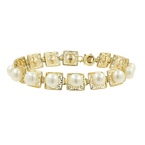 Classic Estate Ladies 14K Yellow Gold Ladies Pearl 7 1/2 inch Bracelet