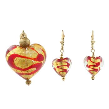 Ladies Estate 14K Yellow Gold Foil Heart-Shaped Earrings & Pendant Jewelry Set