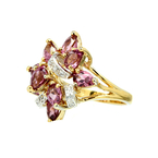 Estate Ladies 925 Yellow Plating Silver Pink Amethyst Zirconia Cocktail Ring