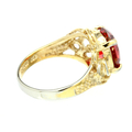 Estate 925 Silver Yellow Plated Ornate Orange Zirconia Cocktail Ring Size 8.75