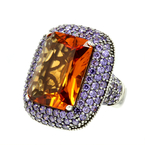 Estate Ladies 925 Silver Citrine Tourmaline Cocktail Ring Size 7.25