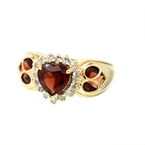 Charming Classic Estate Ladies 14K Yellow Gold Heart-Shaped Garnet Diamond Ring