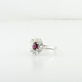 Stunning Estate 18K White Gold Tapered Baguette & Natural Oval Ruby Ring Sz 6.25