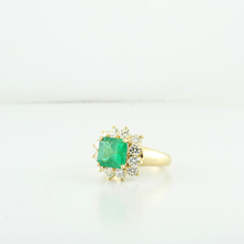 Stunning 3.20 Carat Princes Cut Colombian Emerald & Diamond Ladies Cocktail Ring