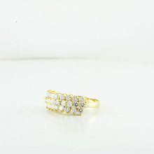 Stunning 1.75CTW Diamond Triple Row Multi Level 14K Yellow Gold Ladies Ring