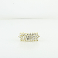 Stunning 1.75CTW Diamond Triple Row Multi Level 14K Yellow Gold Ladies Ring