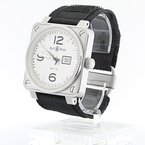 Mens Bell & Ross BR01-96 Grande Date White/Silver Dial Military Aviation Watch