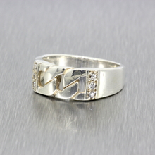 Vintage Classic Estate Ladies 925 Silver Cubic Zirconia Ring Band