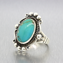 Vintage Classic Estate Ladies 925 Silver Turquoise Cocktail Ring - Size 6.25
