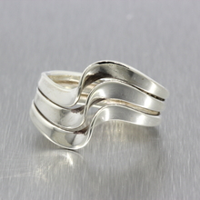 Vintage Classic Estate 925 Silver Ladies Wave Cocktail Ring - Size 7