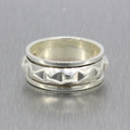 Ladies Vintage Retro Estate 925 Silver Spike Ring Band - Size 8.25
