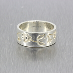 Vintage Classic Estate Ladies 925 Silver Flower Ring Band - Size 6.5