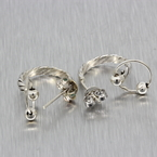 Ladies Vintage Classic Estate 925 Silver Huggie Push Back Earrings - 23MM