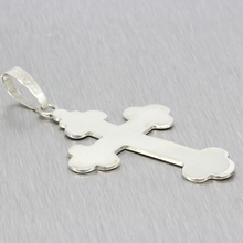 Estate Ladies 925 Silver High Polished 70MM Cross Pendant