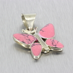 Vintage Classic Estate Ladies 925 Silver Pink Butterfly Pendant
