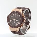 Hublot 44mm Big Bang Cappuccino Chronograph 18K Rose Gold Watch $30,000 Retail !