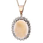 Modern Ladies 14K Rose & White Gold Diamond Opal Pendant & Necklace Set 1.83CTW
