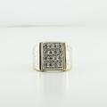 Mens Stunning Rectangular Yellow Gold Natural Grey Diamond Anniversary Ring