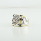 Mens Stunning Rectangular Yellow Gold Natural Grey Diamond Anniversary Ring