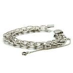 Ladies Vintage Estate 925 Silver Link Hidden Box Clasp Bracelet - 7 1/2 Inch