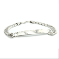 Men's Vintage Estate 925 Silver Cuban Link Hook Clasp ID Bracelet - 9 inch